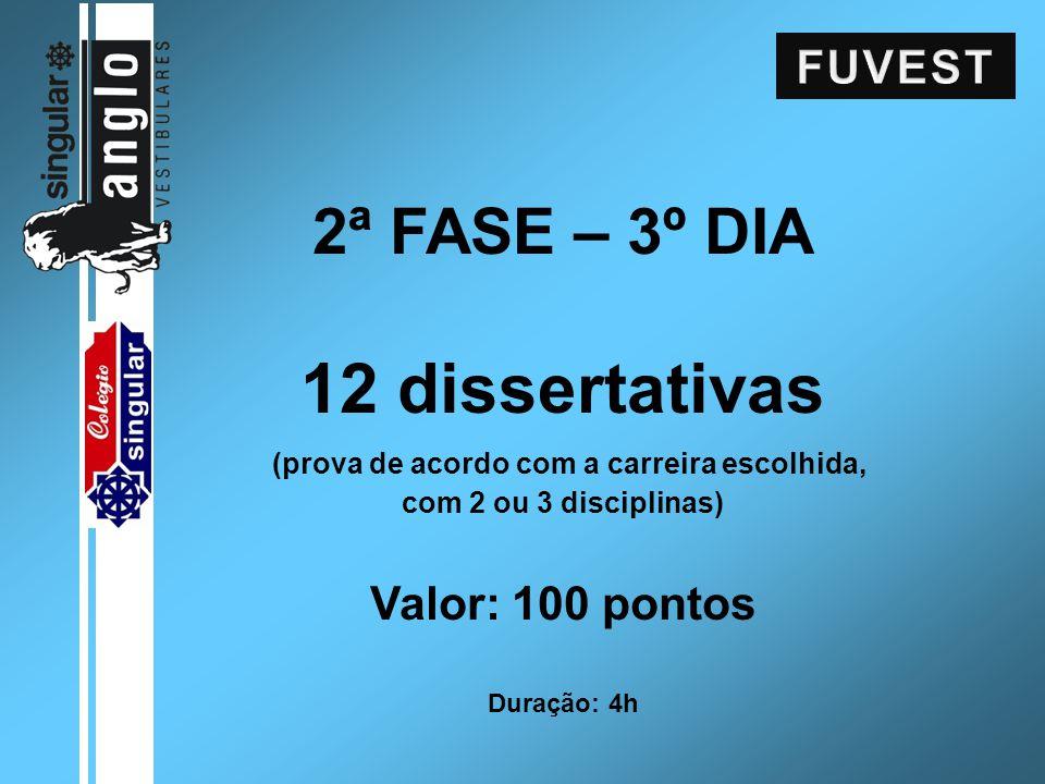 2ª FASE – 3º DIA 12 dissertativas (prova de acordo com a carreira escolhida, com 2 ou 3 disciplinas) Valor: 100 pontos Duração: 4h