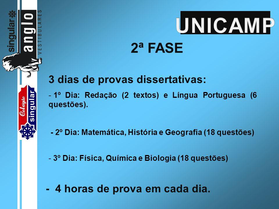 2ª FASE 3 dias de provas dissertativas: - 1º Dia: Redação (2 textos) e Língua Portuguesa (6 questões). - 2º Dia: Matemática, História e Geografia (18
