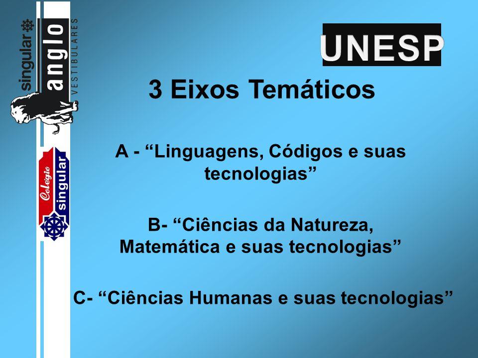 """3 Eixos Temáticos A - """"Linguagens, Códigos e suas tecnologias"""" B- """"Ciências da Natureza, Matemática e suas tecnologias"""" C- """"Ciências Humanas e suas te"""