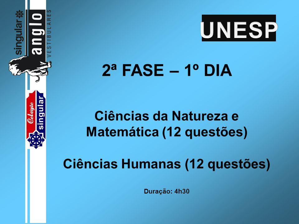 2ª FASE – 1º DIA Ciências da Natureza e Matemática (12 questões) Ciências Humanas (12 questões) Duração: 4h30