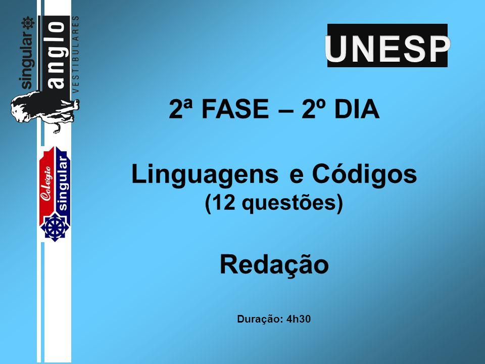 2ª FASE – 2º DIA Linguagens e Códigos (12 questões) Redação Duração: 4h30