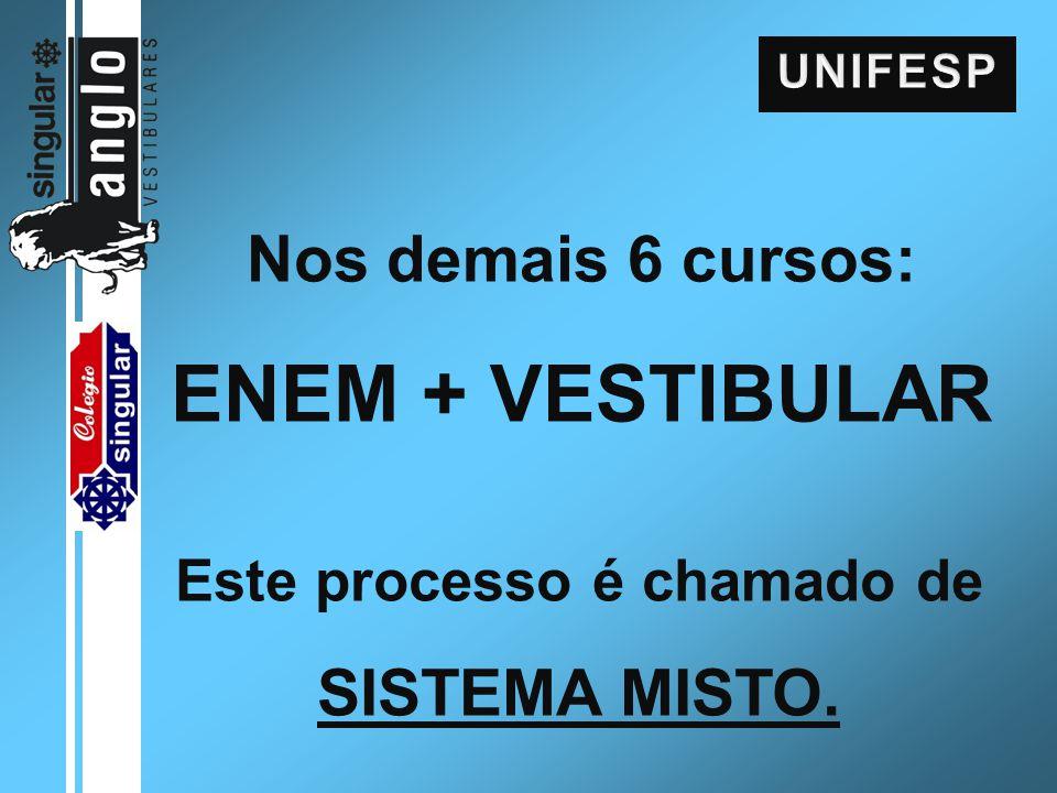 Nos demais 6 cursos: ENEM + VESTIBULAR Este processo é chamado de SISTEMA MISTO.