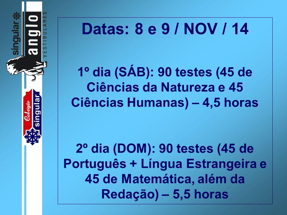Datas: 8 e 9 / NOV / 14 1º dia (SÁB): 90 testes (45 de Ciências da Natureza e 45 Ciências Humanas) – 4,5 horas 2º dia (DOM): 90 testes (45 de Portuguê