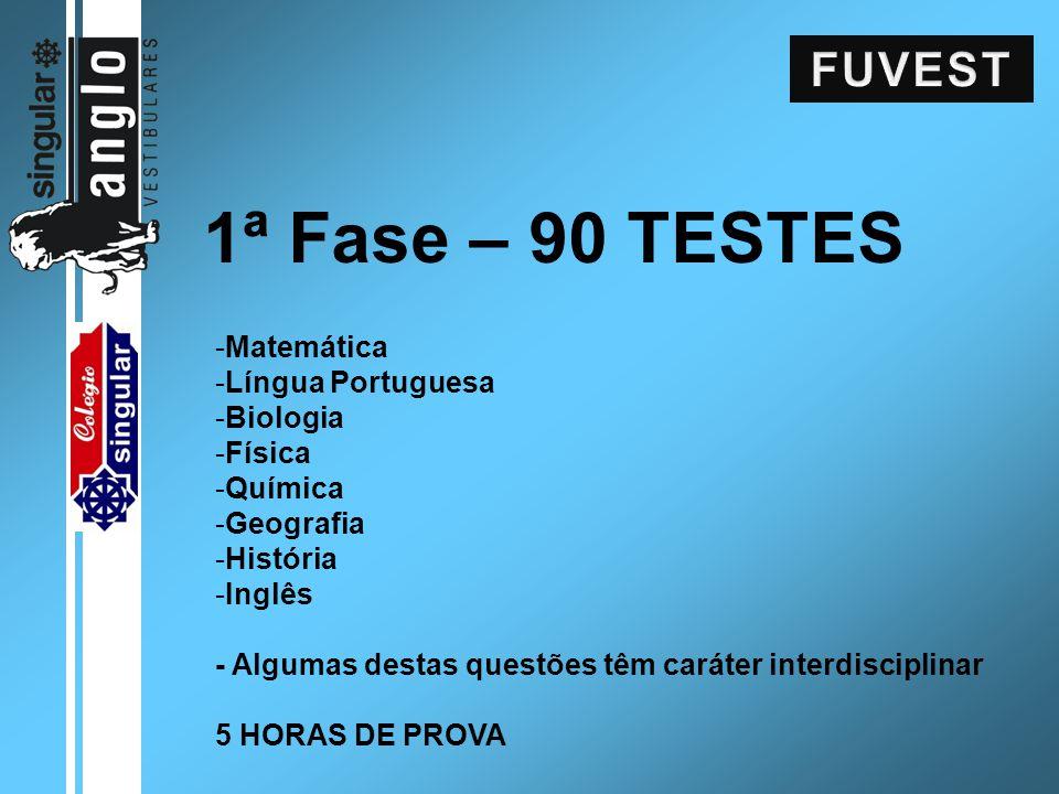 1ª Fase – 90 TESTES -Matemática -Língua Portuguesa -Biologia -Física -Química -Geografia -História -Inglês - Algumas destas questões têm caráter inter