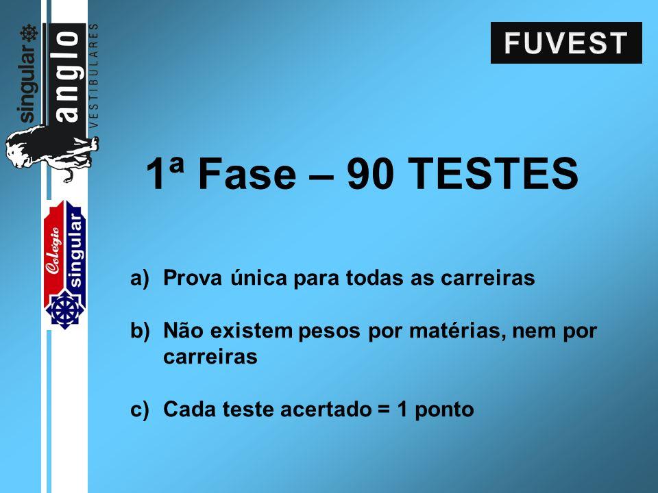 1ª Fase – 90 TESTES a)Prova única para todas as carreiras b)Não existem pesos por matérias, nem por carreiras c)Cada teste acertado = 1 ponto