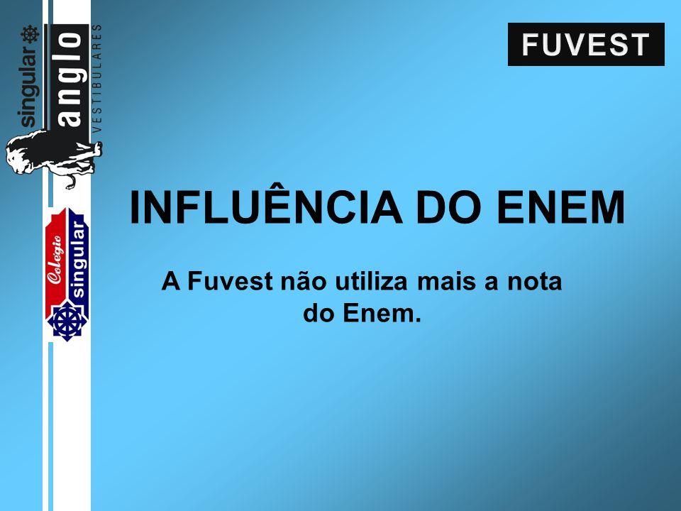 INFLUÊNCIA DO ENEM A Fuvest não utiliza mais a nota do Enem.