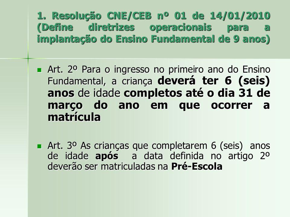 1. Resolução CNE/CEB nº 01 de 14/01/2010 (Define diretrizes operacionais para a implantação do Ensino Fundamental de 9 anos) Art. 2º Para o ingresso n