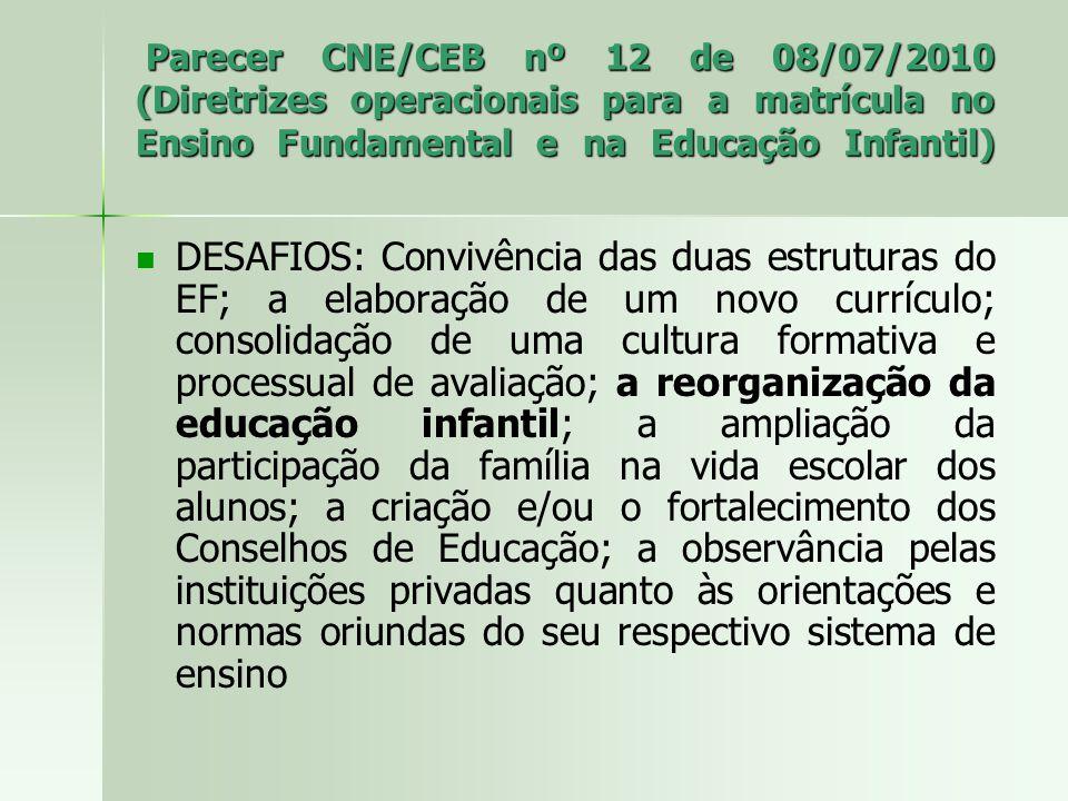 Parecer CNE/CEB nº 12 de 08/07/2010 (Diretrizes operacionais para a matrícula no Ensino Fundamental e na Educação Infantil) Parecer CNE/CEB nº 12 de 08/07/2010 (Diretrizes operacionais para a matrícula no Ensino Fundamental e na Educação Infantil) DESAFIOS: Convivência das duas estruturas do EF; a elaboração de um novo currículo; consolidação de uma cultura formativa e processual de avaliação; a reorganização da educação infantil; a ampliação da participação da família na vida escolar dos alunos; a criação e/ou o fortalecimento dos Conselhos de Educação; a observância pelas instituições privadas quanto às orientações e normas oriundas do seu respectivo sistema de ensino
