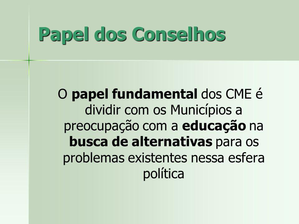 Papel dos Conselhos O papel fundamental dos CME é dividir com os Municípios a preocupação com a educação na busca de alternativas para os problemas existentes nessa esfera política