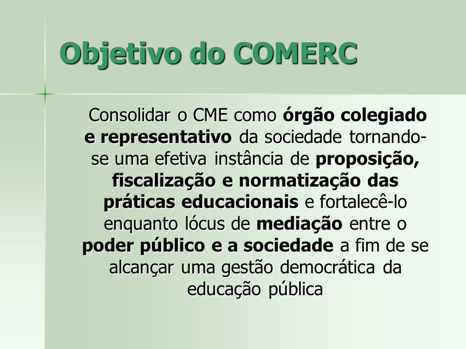 Objetivo do COMERC Consolidar o CME como órgão colegiado e representativo da sociedade tornando- se uma efetiva instância de proposição, fiscalização
