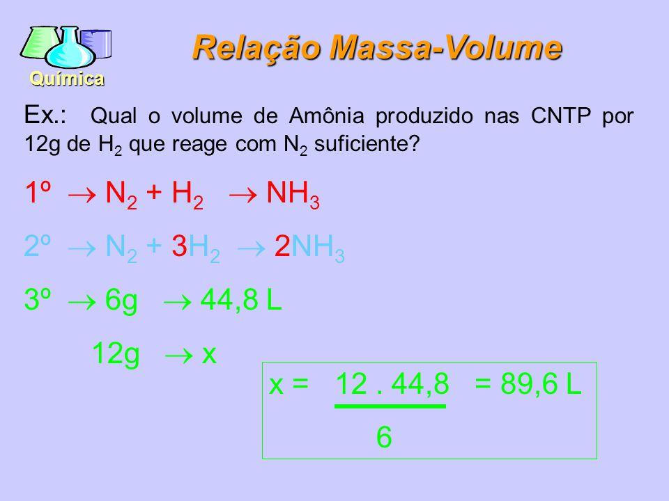 Química Relação Massa-Moléculas Ex.: Quantas Moléculas de água são produzidas a partir de 16g de oxigênio gás.