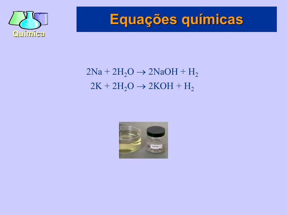 Química A equação química para a formação da água pode ser visualizada como duas moléculas de hidrogênio reagindo com uma molécula de oxigênio para formar duas moléculas de água: 2H 2 + O 2  2H 2 O Equações químicas