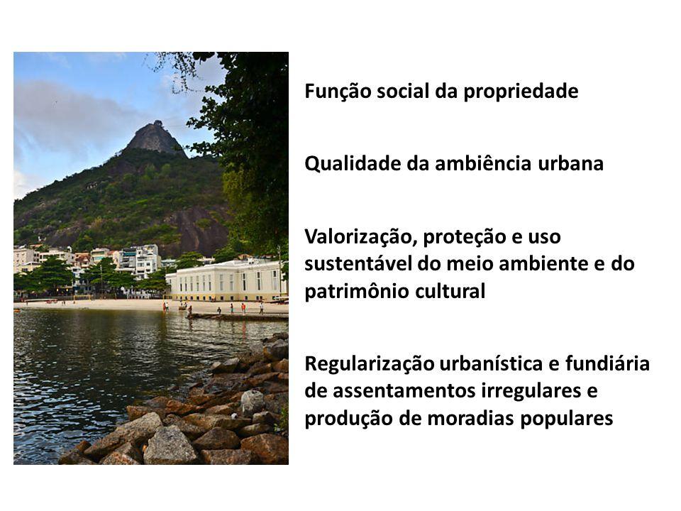 Função social da propriedade Qualidade da ambiência urbana Valorização, proteção e uso sustentável do meio ambiente e do patrimônio cultural Regulariz