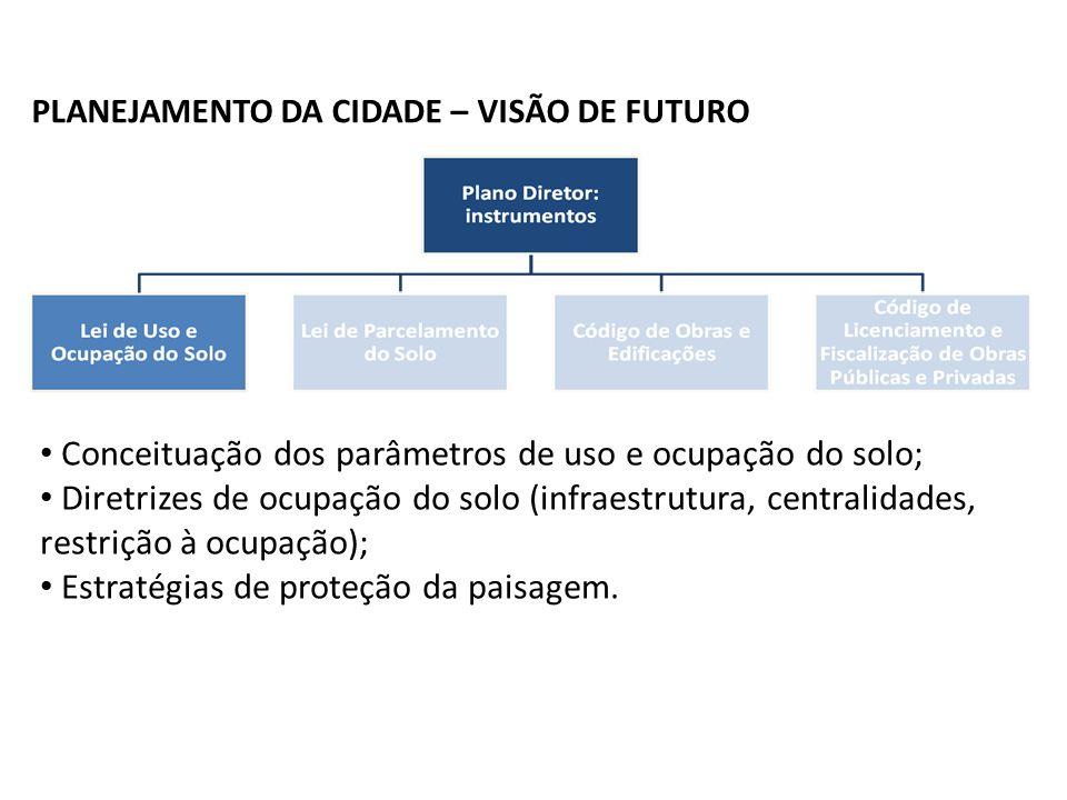 Contextualização PLANEJAMENTO DA CIDADE – VISÃO DE FUTURO Conceituação dos parâmetros de uso e ocupação do solo; Diretrizes de ocupação do solo (infraestrutura, centralidades, restrição à ocupação); Estratégias de proteção da paisagem.