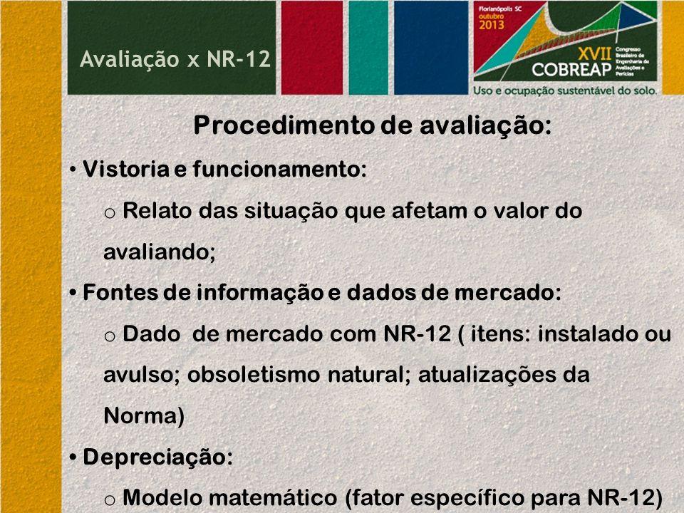 Avaliação x NR-12 Procedimento de avaliação: Vistoria e funcionamento: o Relato das situação que afetam o valor do avaliando; Fontes de informação e d
