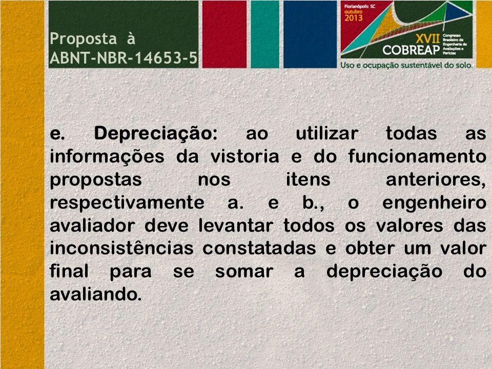 e. Depreciação: ao utilizar todas as informações da vistoria e do funcionamento propostas nos itens anteriores, respectivamente a. e b., o engenheiro
