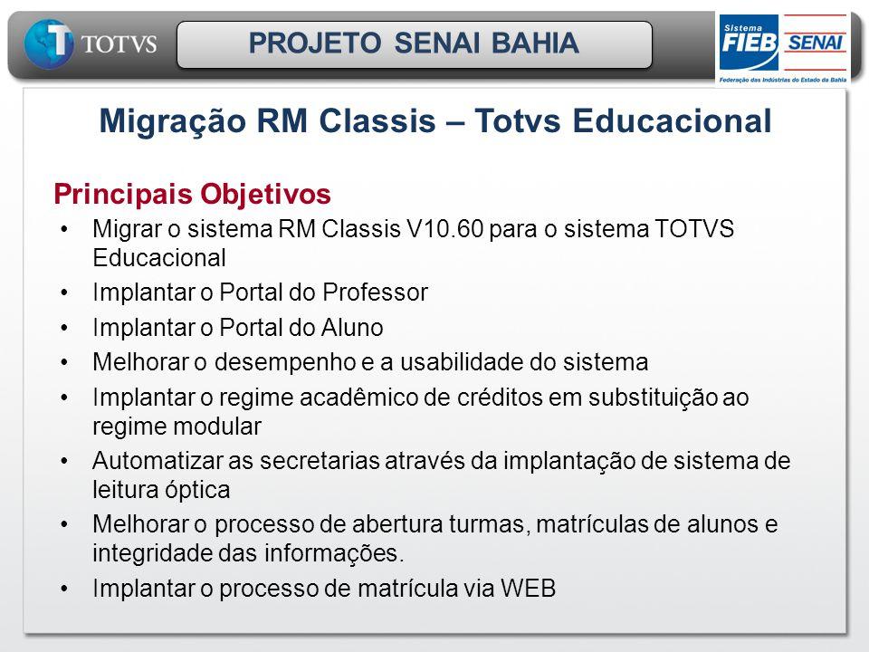 Principais Objetivos Migrar o sistema RM Classis V10.60 para o sistema TOTVS Educacional Implantar o Portal do Professor Implantar o Portal do Aluno M
