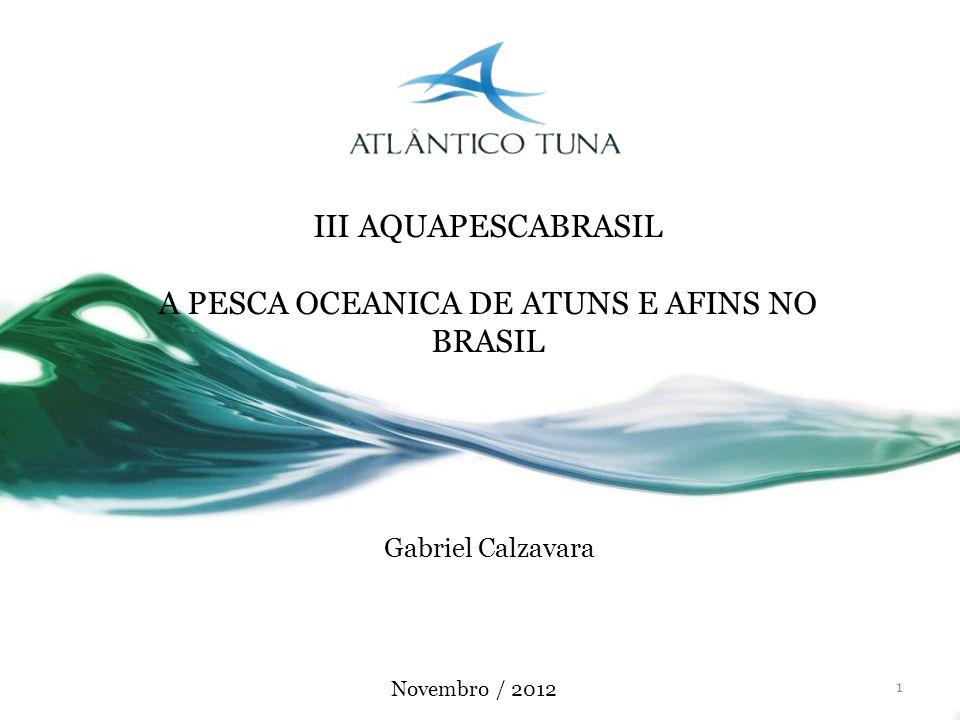 1 Gabriel Calzavara III AQUAPESCABRASIL A PESCA OCEANICA DE ATUNS E AFINS NO BRASIL Novembro / 2012