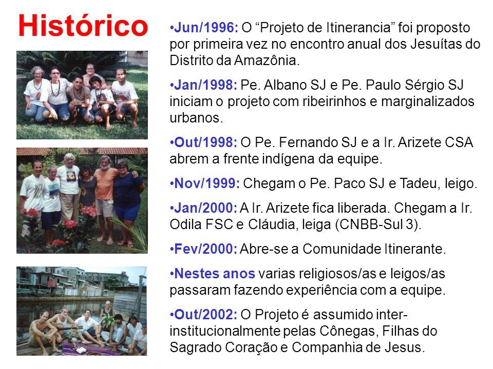 """Histórico Jun/1996: O """"Projeto de Itinerancia"""" foi proposto por primeira vez no encontro anual dos Jesuítas do Distrito da Amazônia. Jan/1998: Pe. Alb"""