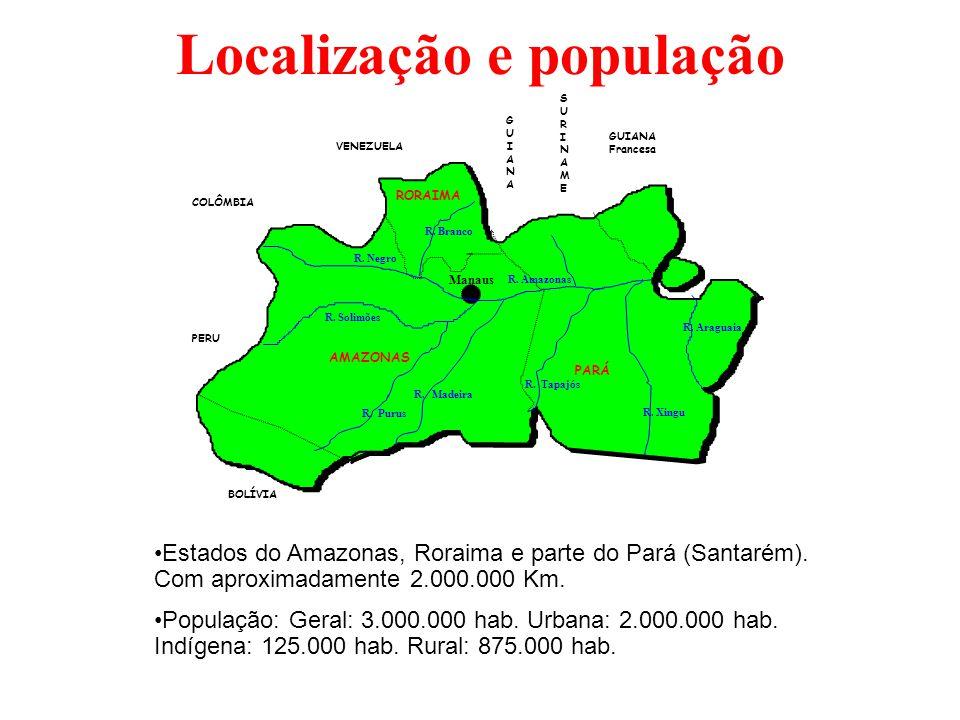 Localização e população PERU VENEZUELA BOLÍVIA COLÔMBIA GUIANA Francesa GUIANAGUIANA SURINAMESURINAME AMAZONAS PARÁ RORAIMA Manaus R. Purus R. Madeira