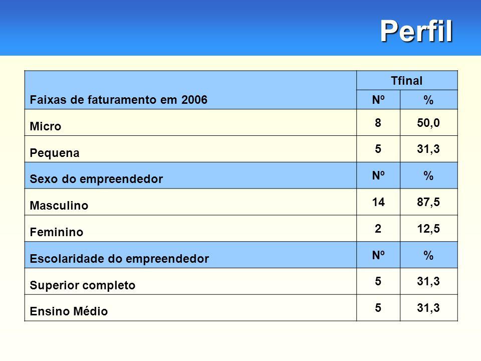 Perfil Faixas de faturamento em 2006 Tfinal Nº% Micro 850,0 Pequena 531,3 Sexo do empreendedor Nº% Masculino 1487,5 Feminino 212,5 Escolaridade do empreendedor Nº% Superior completo 531,3 Ensino Médio 531,3