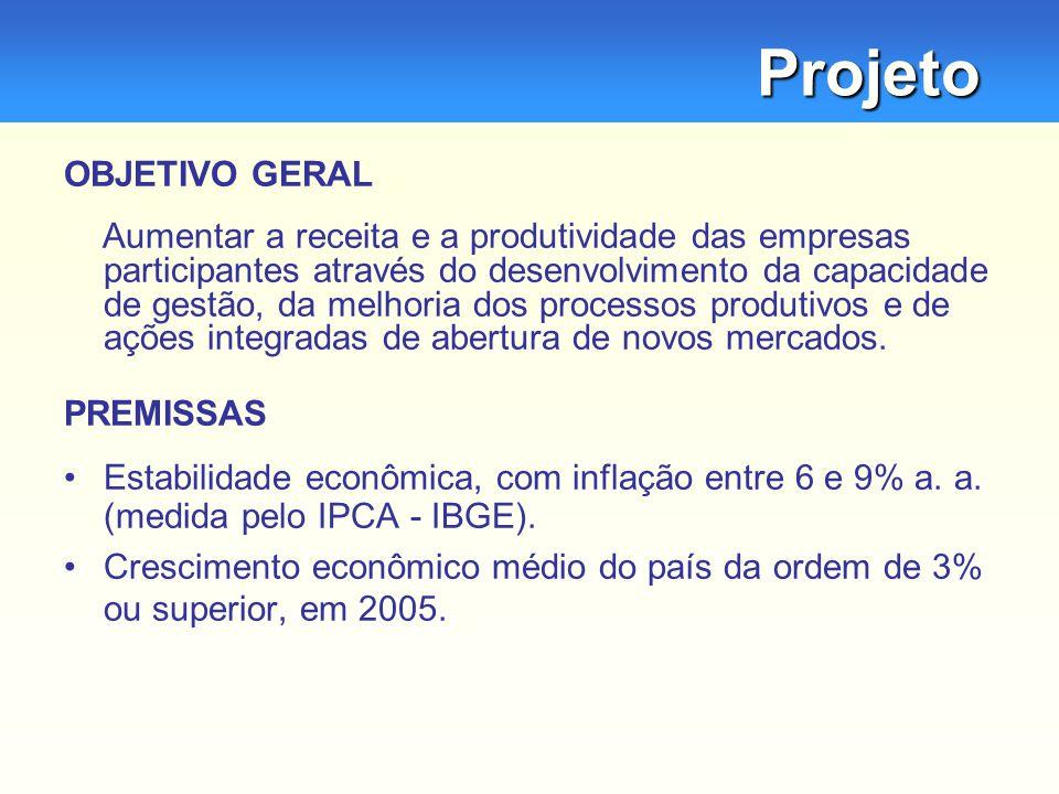 Projeto OBJETIVO GERAL Aumentar a receita e a produtividade das empresas participantes através do desenvolvimento da capacidade de gestão, da melhoria dos processos produtivos e de ações integradas de abertura de novos mercados.