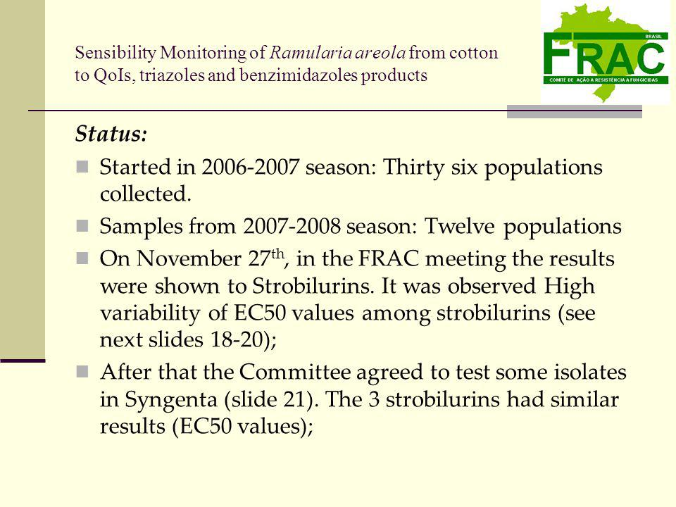 Status: Started in 2006-2007 season: Thirty six populations collected.