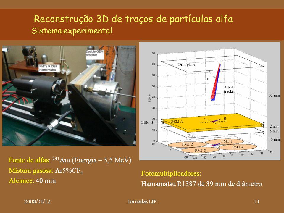 2008/01/12Jornadas LIP11 Reconstrução 3D de traços de partículas alfa Sistema experimental Fonte de alfas: 241 Am (Energia = 5,5 MeV) Mistura gasosa: Ar5%CF 4 Alcance: 40 mm Fotomultiplicadores: Hamamatsu R1387 de 39 mm de diâmetro