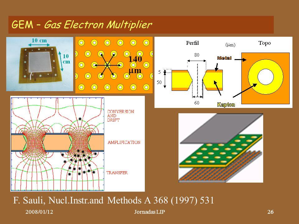 2008/01/12Jornadas LIP26 GEM – Gas Electron Multiplier 140  m F.