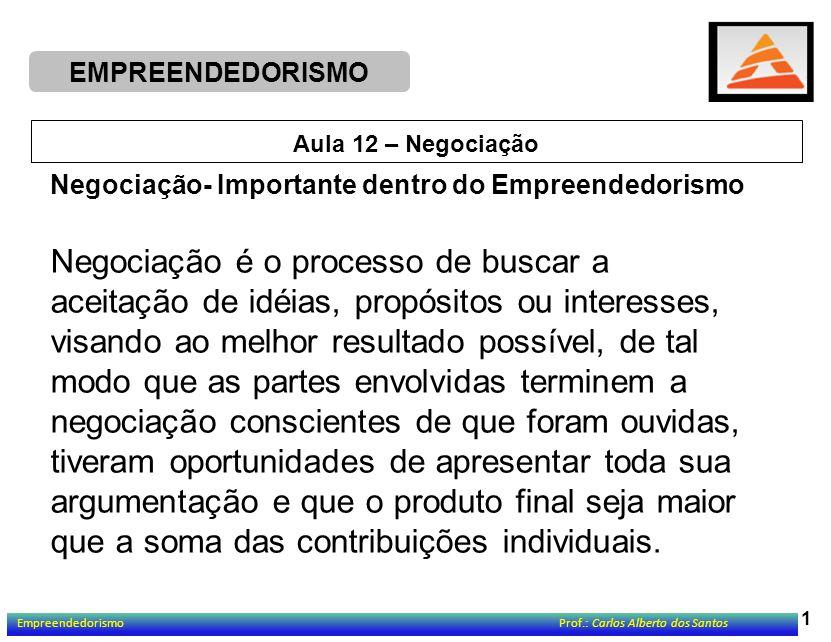 EMPREENDEDORISMO 2 Aula 12 – Negociação Três Problemas Básicos ao Negociar: 1.
