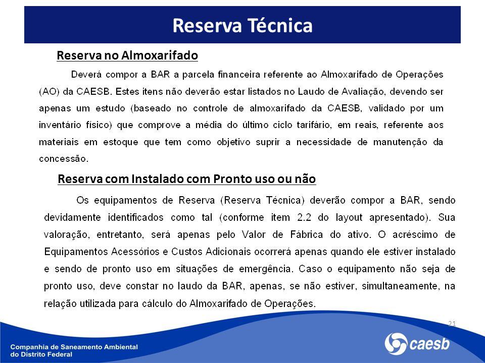 Reserva Técnica 21 Reserva no Almoxarifado Reserva com Instalado com Pronto uso ou não