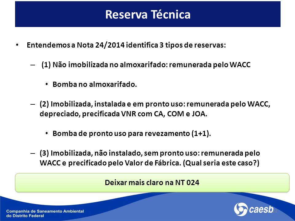 Entendemos a Nota 24/2014 identifica 3 tipos de reservas: – (1) Não imobilizada no almoxarifado: remunerada pelo WACC Bomba no almoxarifado. – (2) Imo