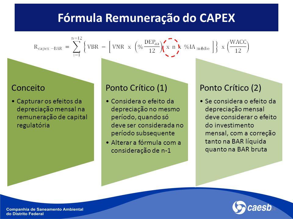 Fórmula Remuneração do CAPEX 24 Conceito Capturar os efeitos da depreciação mensal na remuneração de capital regulatória Ponto Crítico (1) Considera o efeito da depreciação no mesmo período, quando só deve ser considerada no período subsequente Alterar a fórmula com a consideração de n-1 Ponto Crítico (2) Se considera o efeito da depreciação mensal deve considerar o efeito do investimento mensal, com a correção tanto na BAR líquida quanto na BAR bruta