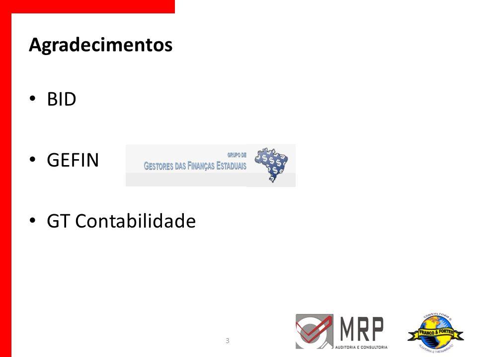 Agradecimentos BID GEFIN GT Contabilidade 3