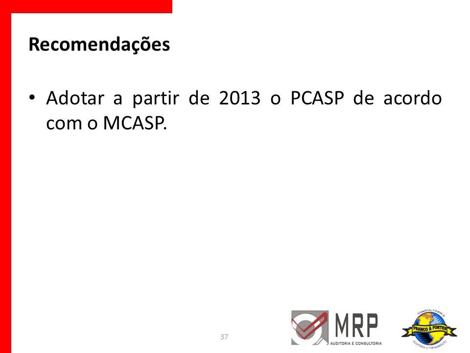 Recomendações Adotar a partir de 2013 o PCASP de acordo com o MCASP. 37