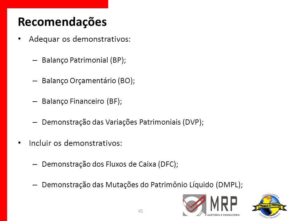 Recomendações Adequar os demonstrativos: – Balanço Patrimonial (BP); – Balanço Orçamentário (BO); – Balanço Financeiro (BF); – Demonstração das Variaç