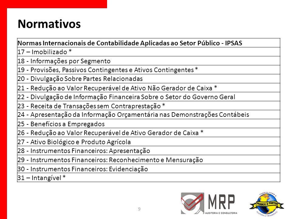 Normativos Normas Internacionais de Contabilidade Aplicadas ao Setor Público - IPSAS 17 – Imobilizado * 18 - Informações por Segmento 19 - Provisões,