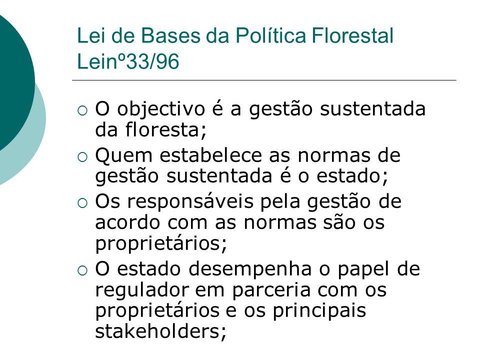 Lei de Bases da Política Florestal Leinº33/96  O objectivo é a gestão sustentada da floresta;  Quem estabelece as normas de gestão sustentada é o es