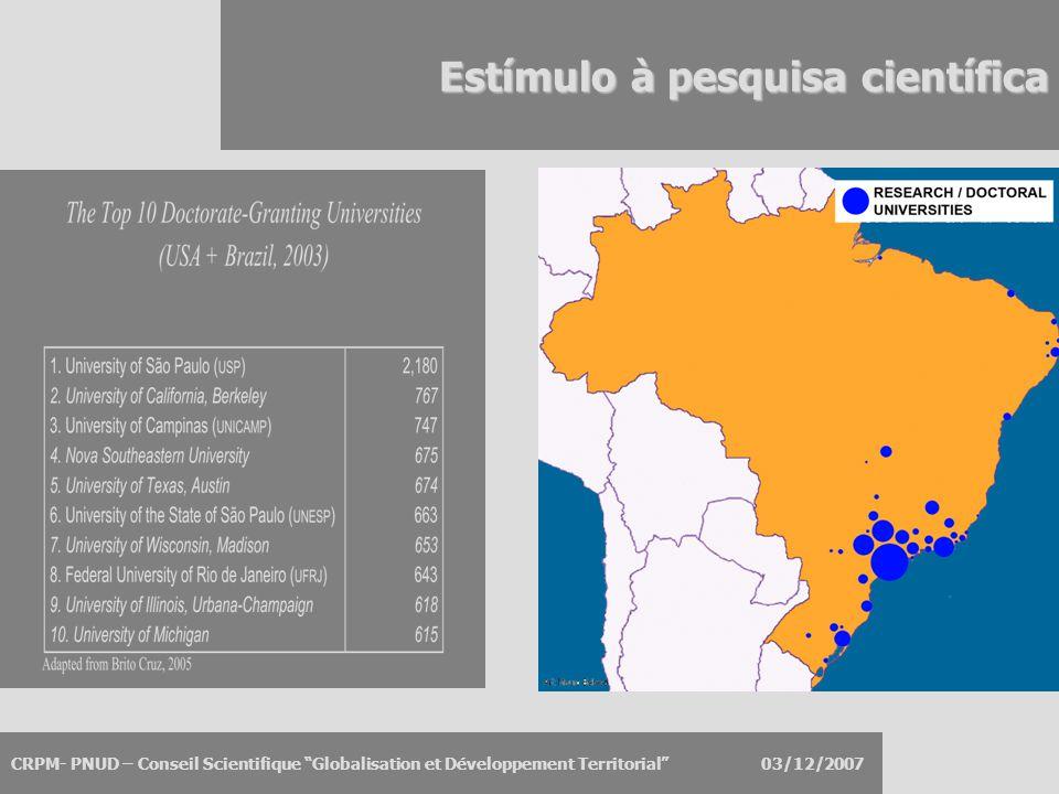 """CRPM- PNUD – Conseil Scientifique """"Globalisation et Développement Territorial"""" 03/12/2007 Estímulo à pesquisa científica"""