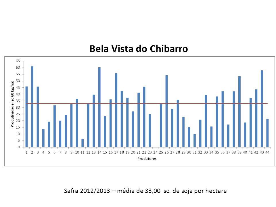 Safra 2012/2013 – média de 33,00 sc. de soja por hectare Bela Vista do Chibarro
