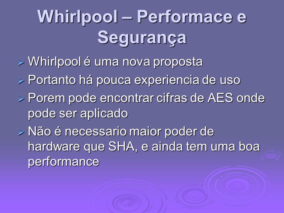 Whirlpool – Performace e Segurança  Whirlpool é uma nova proposta  Portanto há pouca experiencia de uso  Porem pode encontrar cifras de AES onde pode ser aplicado  Não é necessario maior poder de hardware que SHA, e ainda tem uma boa performance