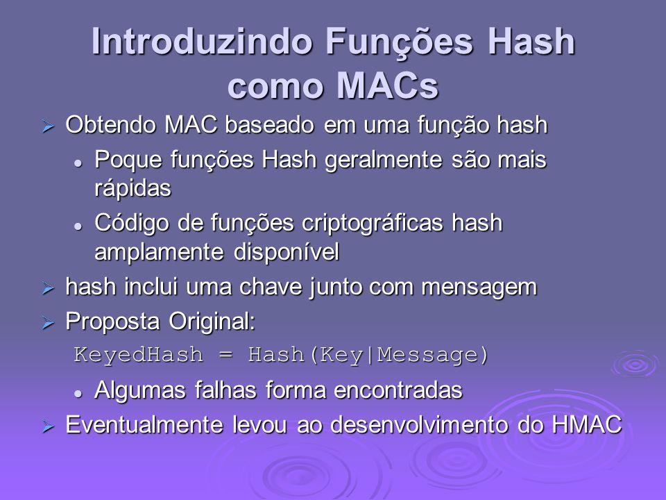 Introduzindo Funções Hash como MACs  Obtendo MAC baseado em uma função hash Poque funções Hash geralmente são mais rápidas Poque funções Hash geralmente são mais rápidas Código de funções criptográficas hash amplamente disponível Código de funções criptográficas hash amplamente disponível  hash inclui uma chave junto com mensagem  Proposta Original: KeyedHash = Hash(Key|Message) Algumas falhas forma encontradas Algumas falhas forma encontradas  Eventualmente levou ao desenvolvimento do HMAC