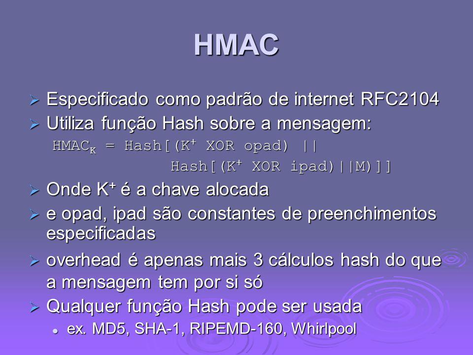 HMAC  Especificado como padrão de internet RFC2104  Utiliza função Hash sobre a mensagem: HMAC K = Hash[(K + XOR opad) || Hash[(K + XOR ipad)||M)]]  Onde K + é a chave alocada  e opad, ipad são constantes de preenchimentos especificadas  overhead é apenas mais 3 cálculos hash do que a mensagem tem por si só  Qualquer função Hash pode ser usada ex.