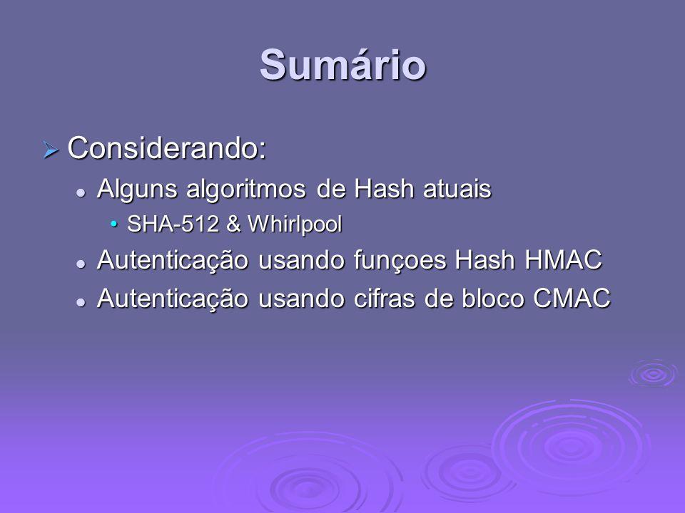 Sumário  Considerando: Alguns algoritmos de Hash atuais Alguns algoritmos de Hash atuais SHA-512 & WhirlpoolSHA-512 & Whirlpool Autenticação usando funçoes Hash HMAC Autenticação usando funçoes Hash HMAC Autenticação usando cifras de bloco CMAC Autenticação usando cifras de bloco CMAC