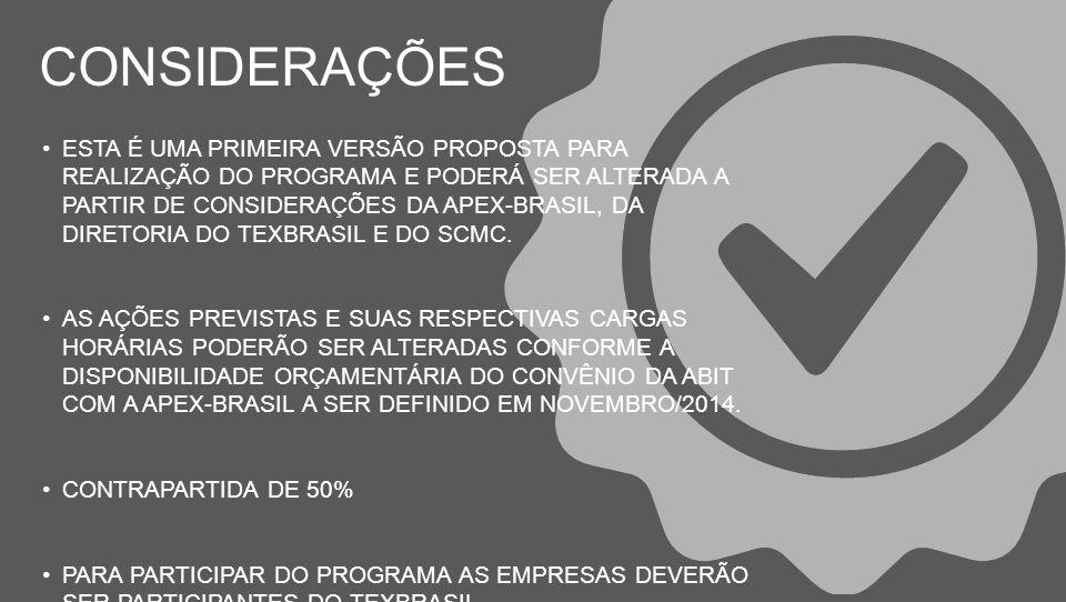 ESTA É UMA PRIMEIRA VERSÃO PROPOSTA PARA REALIZAÇÃO DO PROGRAMA E PODERÁ SER ALTERADA A PARTIR DE CONSIDERAÇÕES DA APEX-BRASIL, DA DIRETORIA DO TEXBRASIL E DO SCMC.