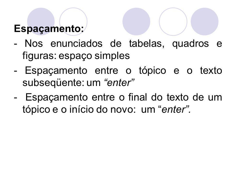 """Espaçamento: - Nos enunciados de tabelas, quadros e figuras: espaço simples - Espaçamento entre o tópico e o texto subseqüente: um """"enter"""" - Espaçamen"""