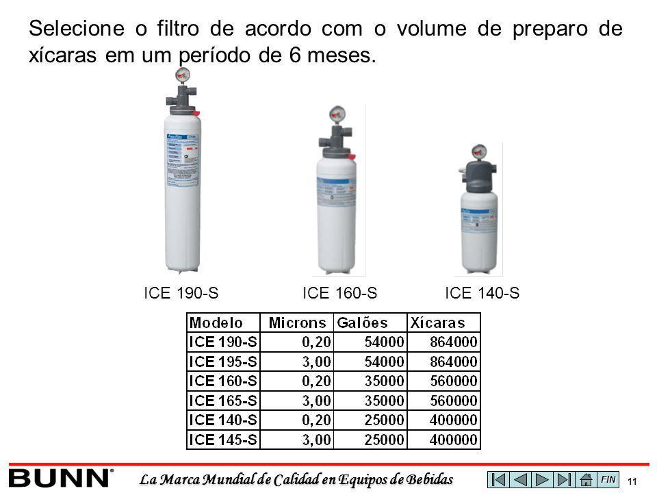 La Marca Mundial de Calidad en Equipos de Bebidas 11 ICE 190-SICE 160-SICE 140-S Selecione o filtro de acordo com o volume de preparo de xícaras em um período de 6 meses.