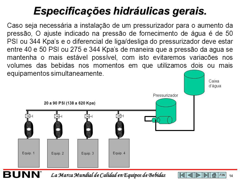 La Marca Mundial de Calidad en Equipos de Bebidas 14 Caso seja necessária a instalação de um pressurizador para o aumento da pressão, O ajuste indicad