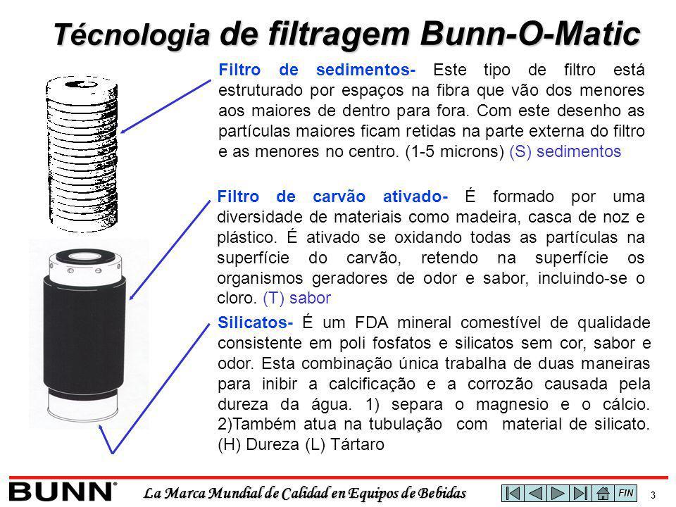 La Marca Mundial de Calidad en Equipos de Bebidas 3 Técnologia de filtragem Bunn-O-Matic Filtro de sedimentos- Este tipo de filtro está estruturado por espaços na fibra que vão dos menores aos maiores de dentro para fora.