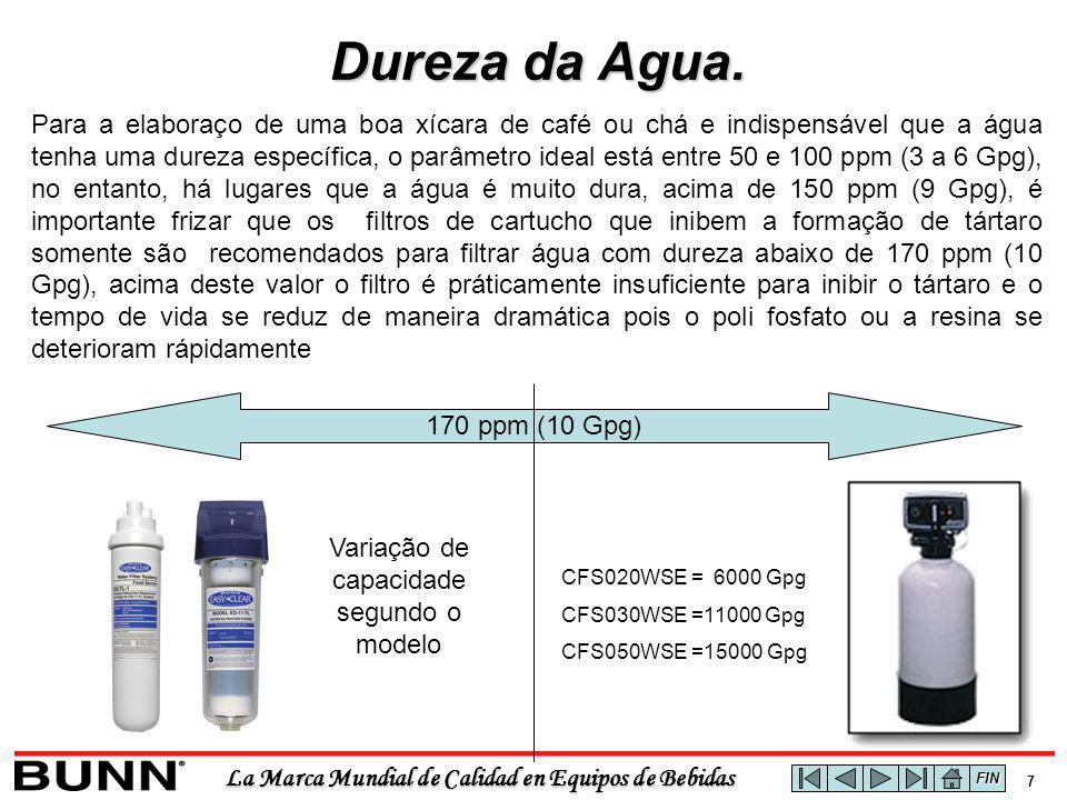 La Marca Mundial de Calidad en Equipos de Bebidas 8 Tabela Comparativa de Capacidade de Inibição de Dureza da Água segundo o modelo dos filtros.